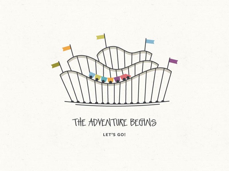 The Adventure Begins roller coaster adventure map illustration flags braizen theme park