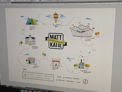 Matt & Katie's World map braizen roller coaster church school shop theatre hot air balloon mountains sailboat branding web design
