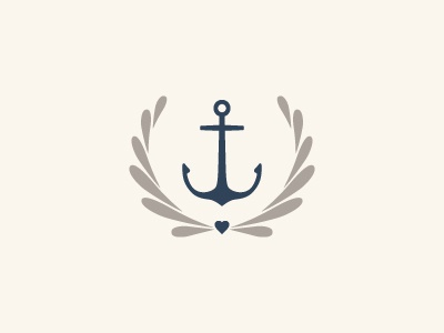 Natalie Franke Mark anchor braizen heart waves water drops wreath photography navy cream warm gray wedding