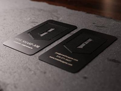 One Sharp, Metal Business Card metal business card black sharp etched engraved cut business card crest photographer branding logo design braizen