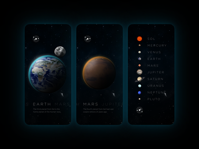 SOL App Concept starfield stars mars earth iphone prototype figma glitch concept app space