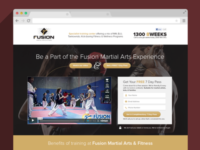 Fusion martial arts landing page email capture form icons clean photo hero tan yellow