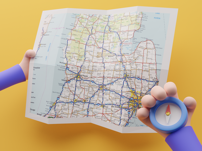 Lost in Michigan michigan first person yellow purple cartoony stylized hands compass map blender illustration 3d