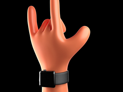 Put up the horns! perfect loop apple apple watch skin material subsurface scattering character animation animation hand character illustration 3drender c4d