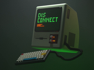 Control and Disconnect atmospheric fog 3d animation animation illustration 3d keyboard computer retro octane c4d