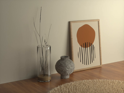 Muted Decoration wood pot clay pot frame picture vase brown earth tones clean room minimal octane cinema4d c4d 3d