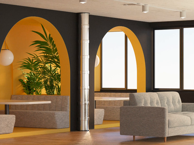 Open Office bench couches heather gray black yellow clean octanerender cinema4d octane c4d social space office spaces room 3d animation render 3d