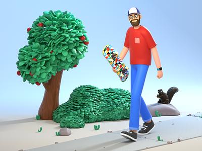 Skatepark Bound octane cinema4d c4d animation clean simple sky sidewalk squirrel leaves bush tree outdoors rigging character illustration 3d art 3d
