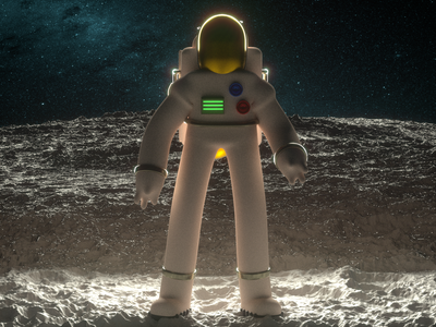 The Cosmonaut cinema4d octane c4d alien spaceship dramatic cosmonaut sci-fi scifi space lighting illustration moon astronaut 3dart 3d