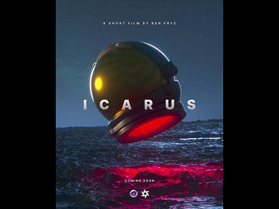 ICARUS Animated Movie Poster octane cinema4d 3d modeling 3d art movie sciencefiction scifi cosmonaut astronaut spaceship moon helmet space loop animated film promo short film short movie poster