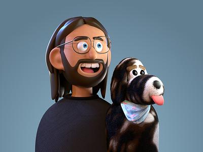 Alex and Cici cinema4d 3d modeling profile picture cute puppy dog avatar portrait character illustration octane c4d 3d