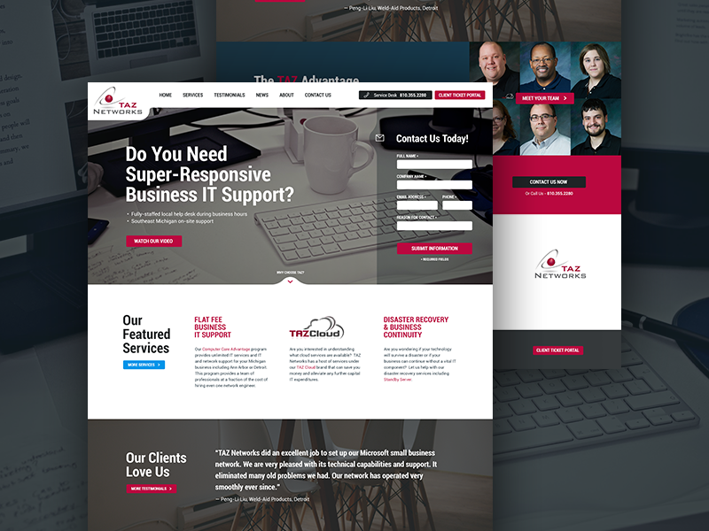 IT Support Homepage gray white red clean simple contact form support information technology homepage