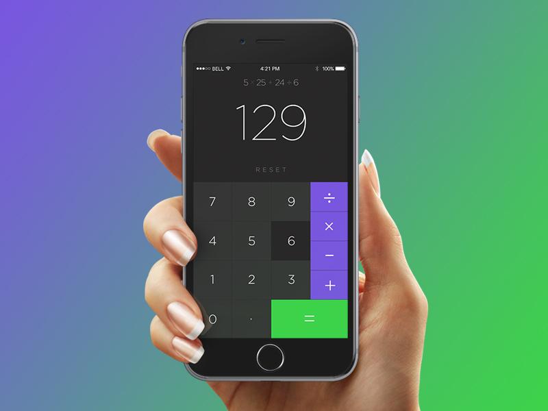 Calculator numbers green purple dark minimalist clean simple iphone mockup app calculator