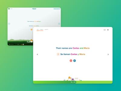 Neue iteration ui teaching spanish green evolution clean learning language mango