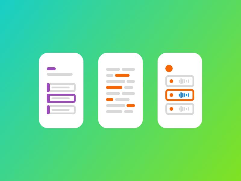 Mobile Illustrations languages learning listening reading purple orange white gradient minimal illustration phone mobile