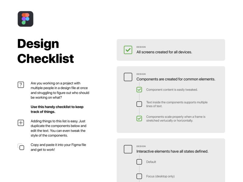 Figma Design Checklist productivity teamwork design teams flexible editable components freebie figma checklist
