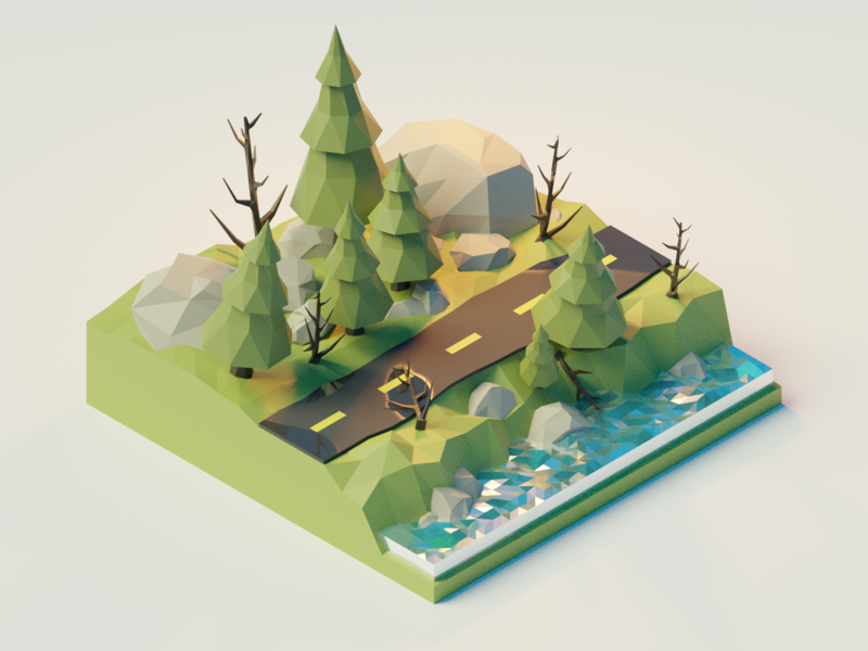 Digging into Blender polygon lowpolyart lowpoly rocks water forest tutorial blender 3d