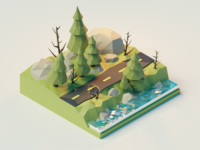 Digging into Blender polygon lowpolyart lowpoly rocks water forest tutorial blender 3d