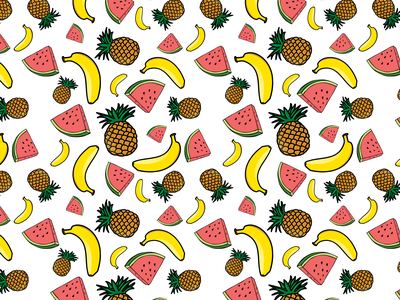 Repeating Fruits Pattern fruit summer color illustration pineapple banana watermelon fruits pattern repeating