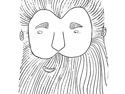 Mr. Beard hipster blackwhite man beard illustration