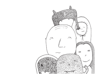 Monsters and humans human monsters kids drawing black and white illustration