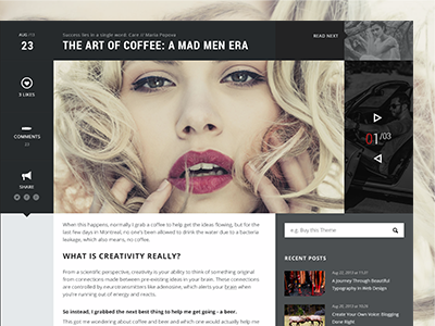 Blog Article Page Design article photography typography wordpress theme responsive themeforest grid template pixelgrade blog post