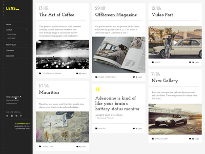 Lens - Masonry Blog pixelgrade themeforest photography masonry whitespace blog article typography wordpress fonts