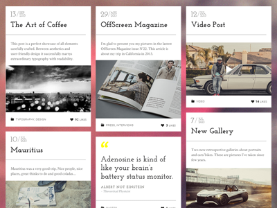 Lens - Masonry Blog pixelgrade themeforest photography masonry whitespace blog article typography wordpress fonts