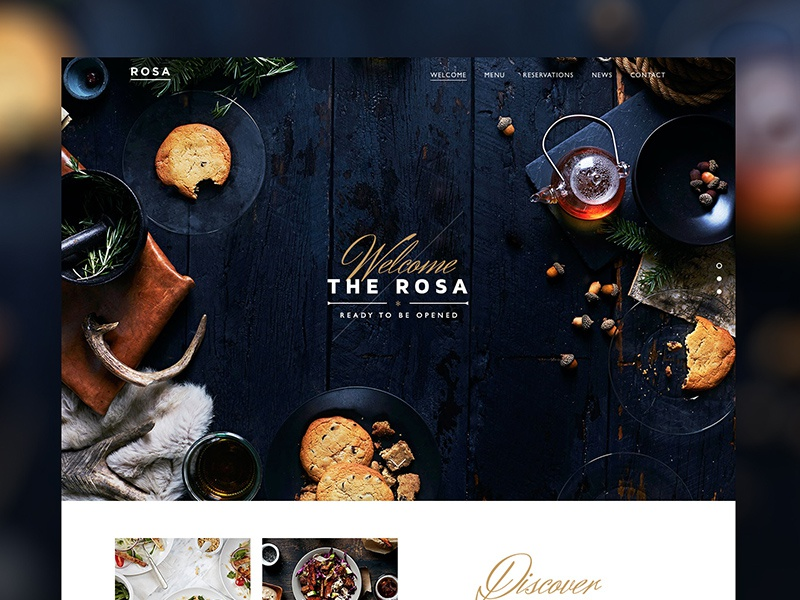 Rosa Restaurant Website web design restaurant food parallax pixelgrade site typography wordpress theme fonts fullscreen