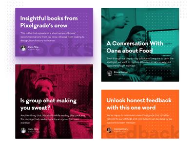 Pixelgrade Blog pixelgrade branding colors cards layout blog