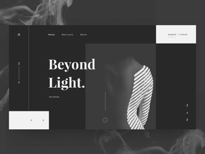 Beyond Light grey black web dark branding hero web design minimal ux ui