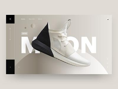 Moon shoe shoes 3d typography brand web design minimal ux ui