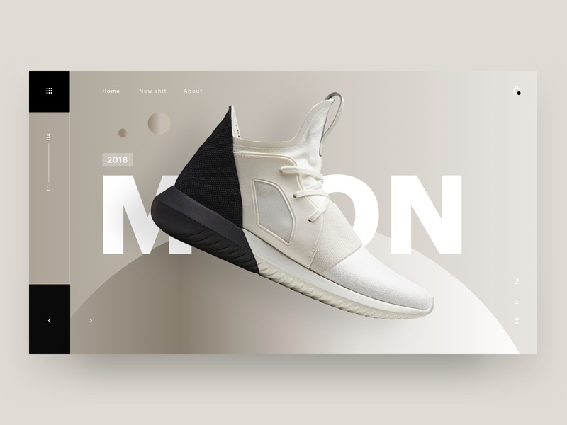Moon shoe shoes 3d typography brand web design minimal ux ui