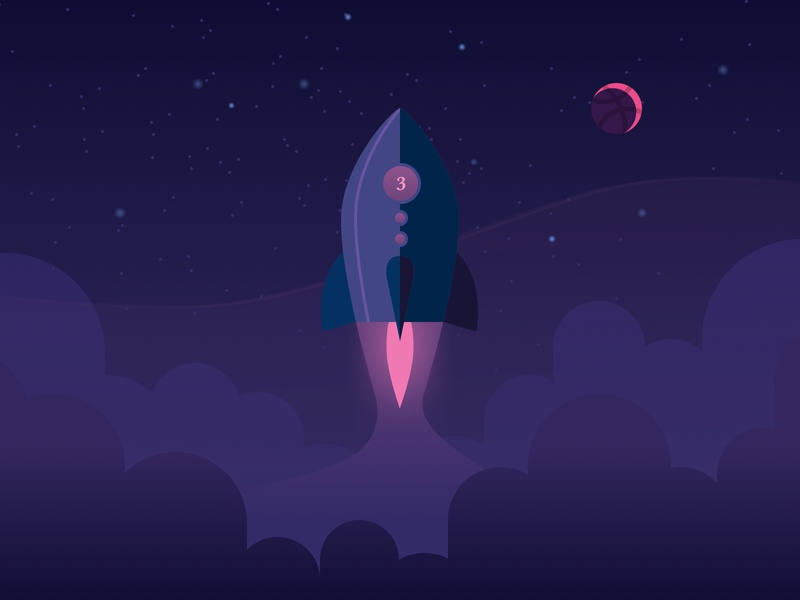 💜3k Follows 💜 3k 3000 clouds stars night sky night time night rocketship rocket illustration