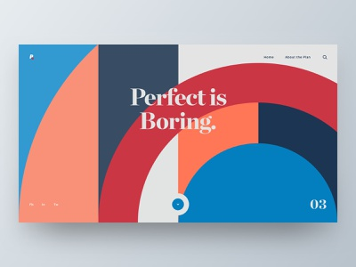 Perfect is Boring typography web hero branding brand web design minimal ux ui