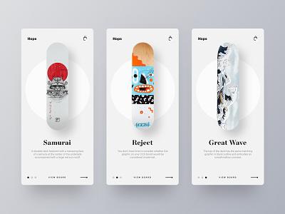 SkateBoard Decks slideshow ecommence skateboard web app branding brand web design minimal ux ui
