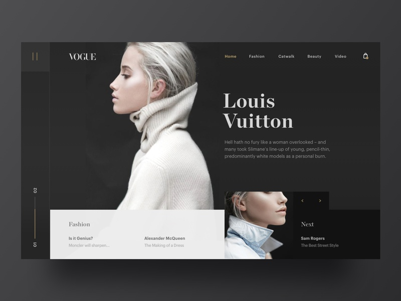 Vogue fashion dark app web hero branding brand web design minimal ux ui