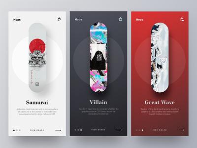 SkateBoard Decks (options) skateboard web app branding brand web design minimal ux ui