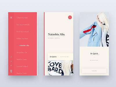Model Portfolio (Mobile) fashion app web branding brand web design minimal ux ui