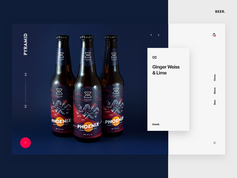Pyramid Brewing beer homepage web hero branding web design brand minimal ux ui