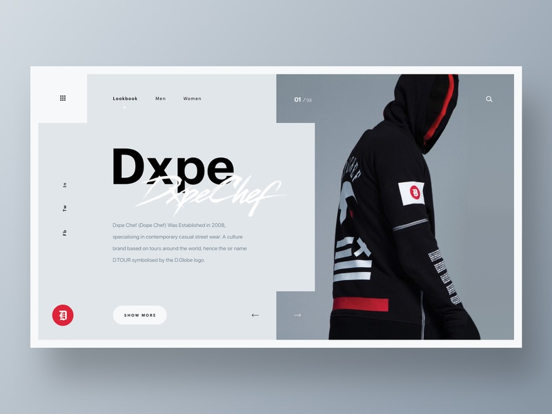 Dxpe Chef fashion homepage hero web branding web design brand minimal ux ui