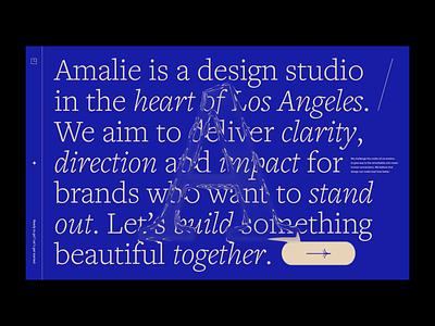 Amalie Landing Page Intro type transition landing page design website motion animation web
