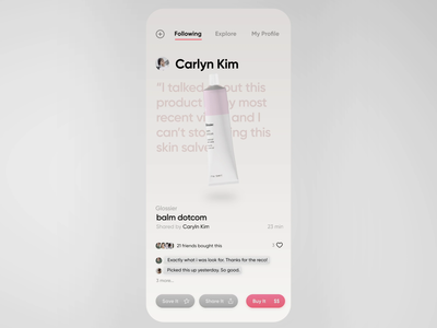 Gist App Product Feed and Reviews reviews glossier ecommerce product design motion ui animation 3d