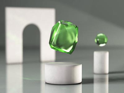 Emerald vs Gravity caustics cinema4d 3d art 3d lightning diamonds c4d motion animation