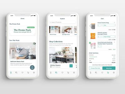 Grove Collaborative App Refresh ecommerce design app redesign refresh grove tiles white ios shopping app ecommerce shopping
