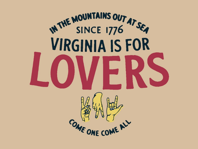 VA is for Lovers Badge typography illustrator badge vector