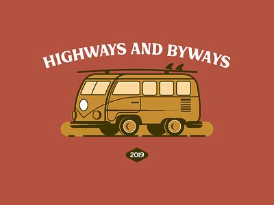 Highways and Byways Lockup art-direction branding vector flat badge illustrator