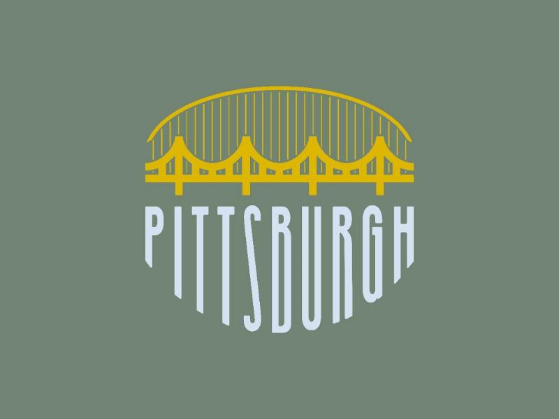 The City of Bridges Badge 2 identity flat typography illustrator logo design print bridge pittsburgh city badge vector type illustration