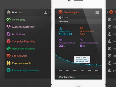 App concept Burthub nav list kpi graph data information infogfx report navigation iphone app ios burt metrics application dashboard