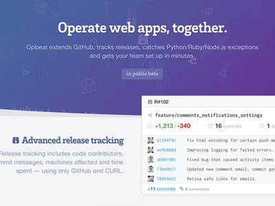 Opbeat Marketing website product webapp app opbeat marketing landingpage website